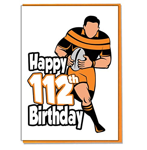 Rugby Silhouette 112th Geburtstagskarte-Herren-Sohn, Enkel-Freund-Mann-Brother-Mate -