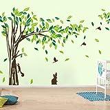 Géant Vert famille Arbre avec feuilles oiseaux écureuil lapin Animaux STICKER mural 215,9x 396,2cm