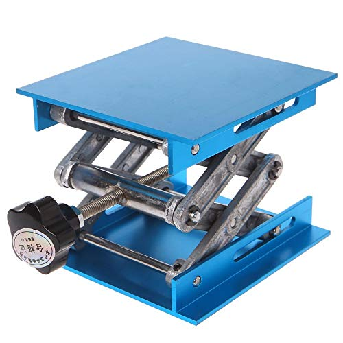 """Good Quality 4""""x4"""" Aluminum Router Lift Table Woodworking Engraving Lab Lifting Stand Rack Lifting Range 47-143mm"""