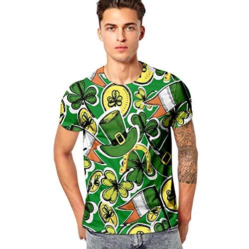 Vintage Kleeblatt mit Hut - Frashing Herren Unisex Kurzarm T-Shirt Rundhals Grün Kurzärmeliges Oberteil, Irish for a Day Irland St. Patrick - St. Patricks Day -