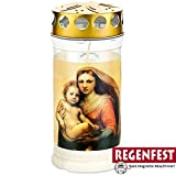 Grablicht Aeterna mit Madonna Motiv, 4 Tage Brenndauer, Regenfest (5)
