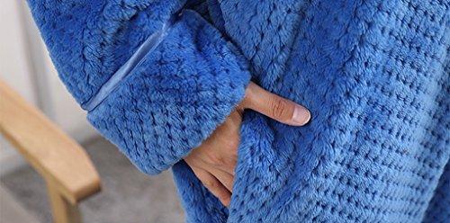 Accappatoio Coppia Uomo Donna Coperta Morbida Flanella Vestaglia e Camicia da Notte Adulto Caldo Pigiama Premaman Kimono Vestaglia Lunghe Invernale in Pile Poncho Bathrobe Nightgown Sleepsuit Blu