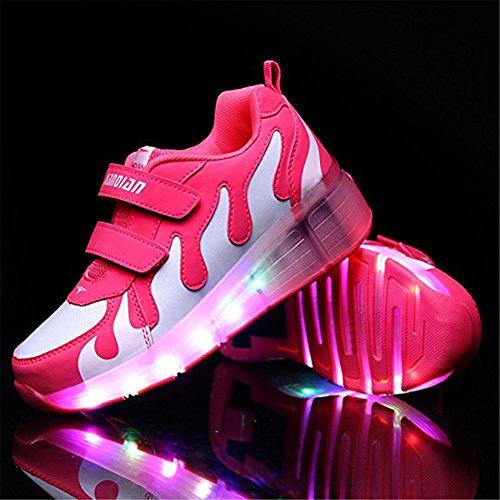 Led Schuhe mit Rollen Farbe 7 Farbwechsel Sneaker Sportschuhe Skateboard Herren Kinder Junge Damen Mädchen Rosa weiß