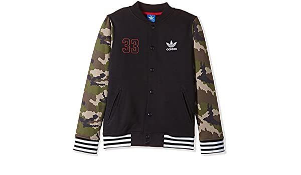 eb112e1ada13 adidas Originals Childrens Jacket Fleece Black Camo Trefoil Collegiate Coat  (6-7 Years)  Amazon.co.uk  Clothing