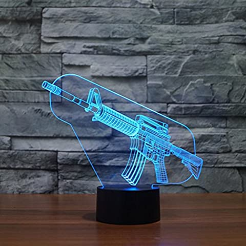 Illusione 3d lampada luce notturna jawell pistola 7Cambiare colore Touch USB tavolo regalo giocattoli decorazioni