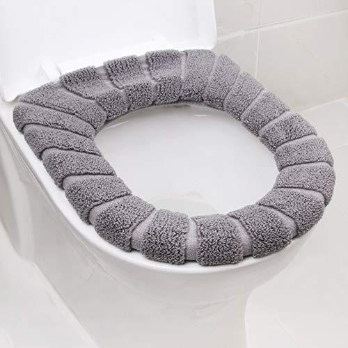 BAOZIV587 Cuscino del sedile universale per WC per uso domestico Coprisedile stabile per cavallo fodera per cuscino in felpa di corallo spessa, colore grigio medio