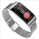 XXH Smart Sport Armband Huawei Monitor Herzfrequenz Blutdruck Farbdisplay Wasserdicht Oppo Uhr Hirse 3 Schrittzähler smart-Watch (Farbe : Silber, größe : Metal Strap)