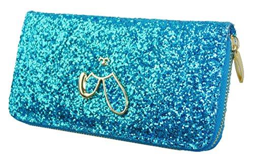 Kukubird Premium Glitter Portefeuille Grande Taille Dames Sac À Main Portefeuille Embrayage Blue