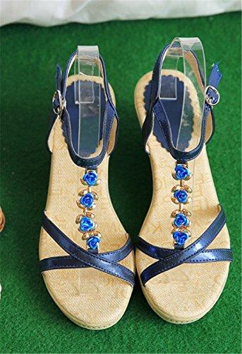 Wealsex Sandales Bohême Fleur PU Cuir Compensée 7 CM Femme Bout Ouvert confort Bleu