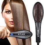 RYLAN Hair Electric Comb Brush 3 in 1 Ceramic Fast Hair Straightener For Women's Hair Straightening Brush with LCD Screen, Temperature Control Display,Hair Straightener For Women (Black).