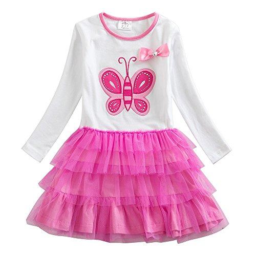VIKITA Mädchen Kleid Baumwolle Stickerei Schmetterling Tulle Prinzessin Tutu LH4555WHITE 7T