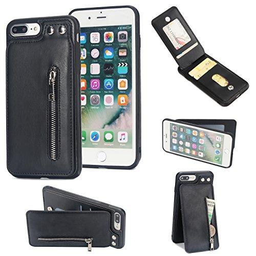 Shinyzone für iPhone 8 Plus/iPhone 7 Plus Leder Brieftasche Zurück Hülle mit Kredit Kartenhalter,Taste Schnalle Reißverschluss Tasche Ständer Handyhülle,Schwarz -
