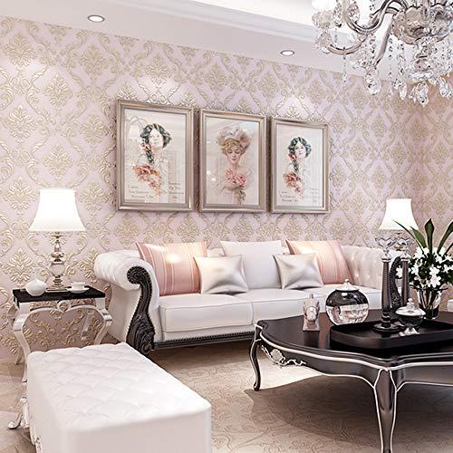 AYUE Weinlese-Luxuxdamast-Tapeten-PVC Prägte Strukturierte Tapeten-Rolle Hauptdekoration Creme-Weiße Farbe Tapete 0.53M10m = 5.3㎡,Pink