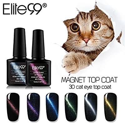 Elite99 Soak Off 3D Magnetic Cat Eye Gel Polish UV LED Nail Art Top Coat 10ML