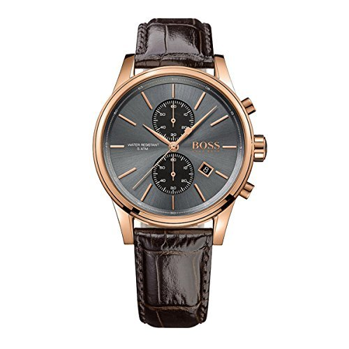 Hugo Boss Jet Schwarz/Rose Gold/Braun Analog Quarz Leder Chronograph Herren-Armbanduhr 1513281von Hugo Boss