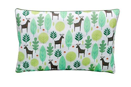 Kinder Kissenbezug 40cm x 60cm mit Reißverschluss, Kissen Bezug aus 100% Baumwolle, hergestellt in Europa, Doppelseitig, Tiere