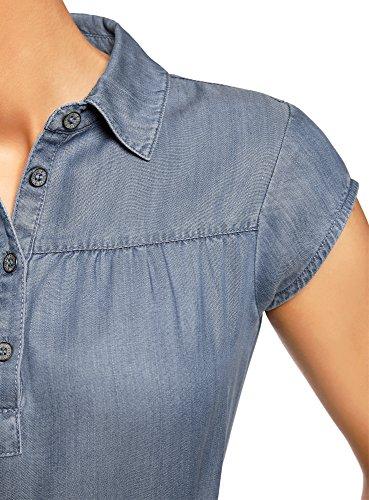 oodji Collection Damen Lyocell-Kleid mit Gürtel Blau (7500W)