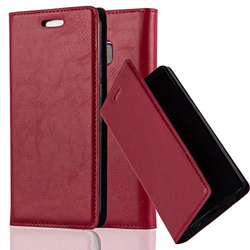 Cadorabo Hülle für HTC ONE M9 (3.Gen.) - Hülle in Apfel ROT – Handyhülle mit Magnetverschluss, Standfunktion und Kartenfach - Case Cover Schutzhülle Etui Tasche Book Klapp Style