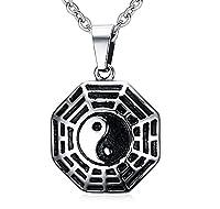 Joielavie Jewellery Pendant Necklace Ying Yang Eight Trigram Taoism Religion Amulet Retro Ethnic Gift For Men - Black