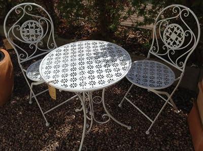 Gartentisch Set Metall weiss