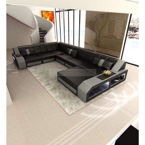 +++ réel Canapé en cuir design intérieur de la maison Matera XXL noir - Gris