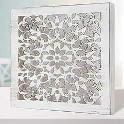 Cuadro Mandala de Pared Calada, Fabricada artesanalmente en España- Mandala 3D Cuadrada Pintada a Mano- Modelo Mosaico 121- (Blanco Envejecido, 50x50)