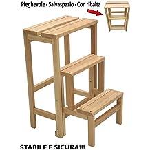 taburetes en escalera plegables de madera para ahorrar espacio en interiores