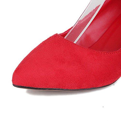 VogueZone009 Donna Puro Plastica Tacco Medio Scarpe A Punta Fibbia Ballerine Rosso