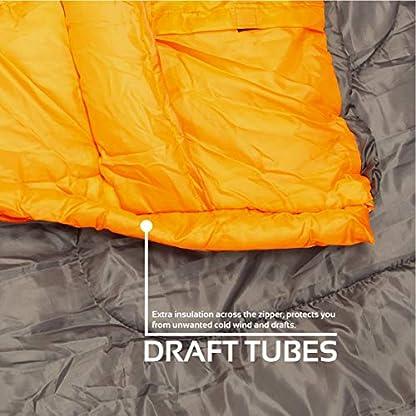 Milestone Camping Unisex's 26750 Envelope Sleeping Bag 3 Season Double Insulation Grey & Orange, Grey 8