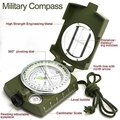 Militär Marschkompass Professioneller Taschenkompass Peilkompass Kompass mit Klinometer Tragschlaufe, Tasche - 2