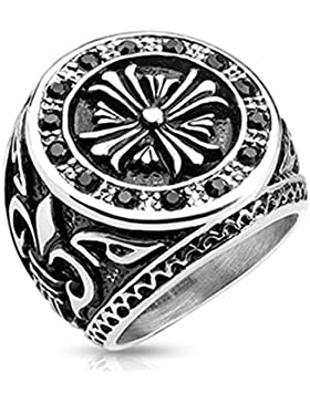 Paula & Fritz® Ring aus Edelstahl Chirurgenstahl 316L Biker Ring 27mm breit Fleur de Lis schwarze Zikonia verfügbare...