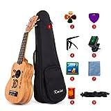 'kmise caoba Body Ukelele Soprano Kit 21principiantes Ukelele UKE Hawaii guitarra 12trastes con diseño de grabado patrón para Amantes de la música