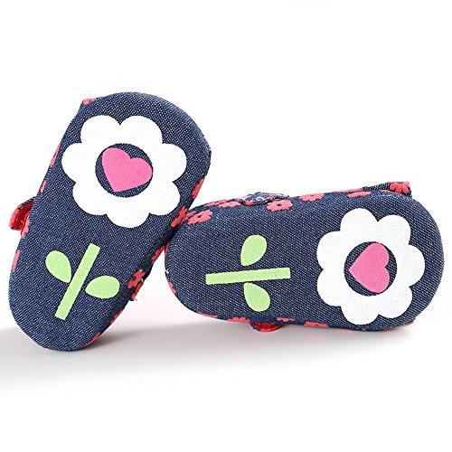 Chaussures à pied à la mode pour bébés Chaussures à fleurs en soie antidérapantes et douces avec Bowknot pour 0 à 18 mois Bébé-filles (Rouge, M) Rosso