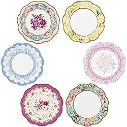 Talking Tables Small Vintage Piastra 20,3cm 6Modelli, 12Pezzi, Multicolore