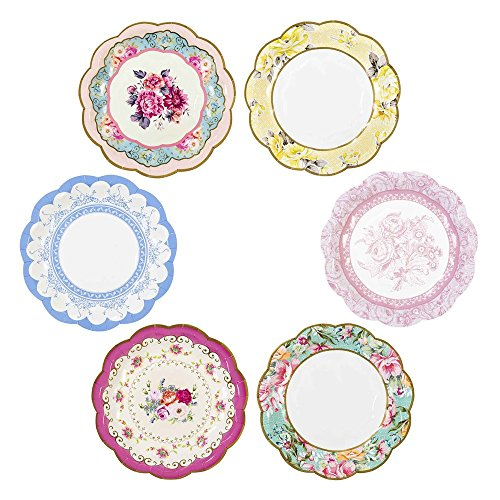 Talking Tables Truly Scrumptious Tea Party Vintage Floral Paper Plates Small, Disposable, Mixed Colours, Pack of 12, Dia 18cm, 7""