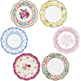 """Talking Tables Truly Scrumptious Small Vintage Plate 8"""", 6 Designs, 12 Pack, Paper/Cardboard, Multicolour, 2.5 x 17 x 18.5 cm"""