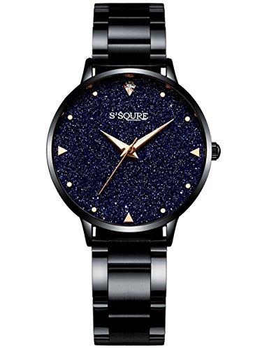 Alienwork Damen-Armbanduhr Quarz schwarz mit Edelstahl Metallarmband echtes Marmor Zifferblatt