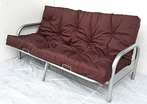 Silver Finish 3 Seater Metal Action Futon Sofabed Frame & Mattress. Bed Settee (Chocolate Brown)