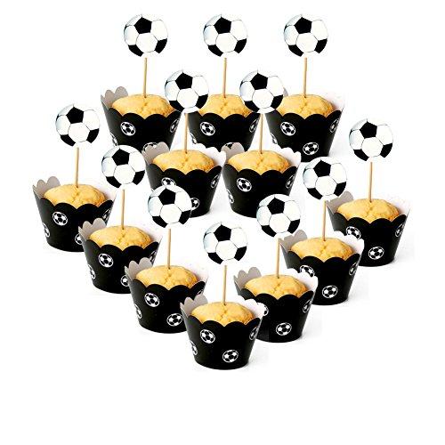 Lumanuby Fußball Cupcake Wrappers Paiper Muffin Deko Sets von 12 Stück Football Kuchen Toppers und Kuchen Pappbecher