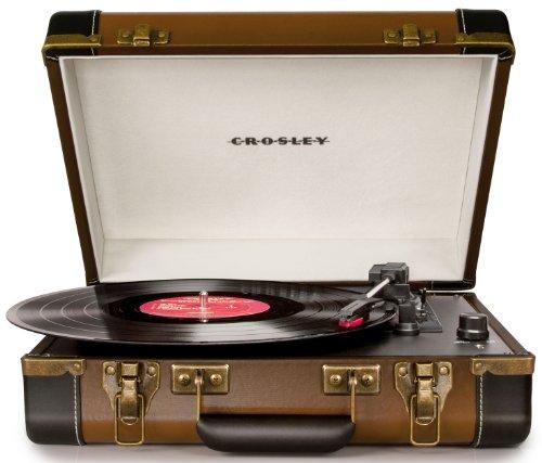 Crosley Executive - Tocadiscos estilo Maletín Ejecutivo de 3 velocidades (con enchufe Reino Unido, puerto USB y altavoces estéreos incorporados, Negro)