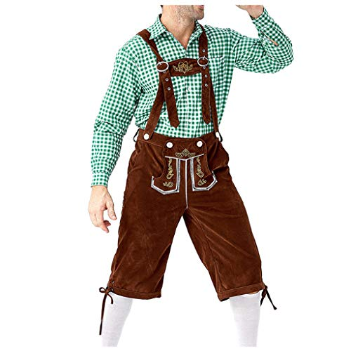 DIASTR Herren Oktoberfest Kostüm Beer Bavarian Lederhosen Kostüm Komplett-Set, Hosenträgern und Hut, Outfit mit Hemd,Kleidung für Fasching, Karneval, Party Oder Wiesn