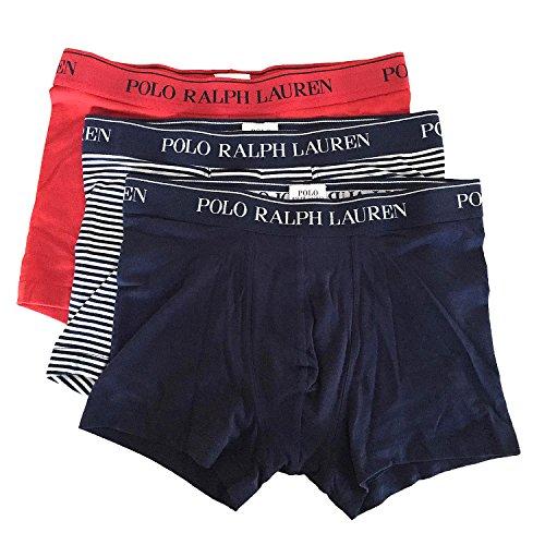Polo Ralph Lauren Herren Boxershorts 3er Pack Classic Trunk (6 (Gr. Large), Rot/Blau/Gestreift) (Baumwolle Trunk Gestreift)