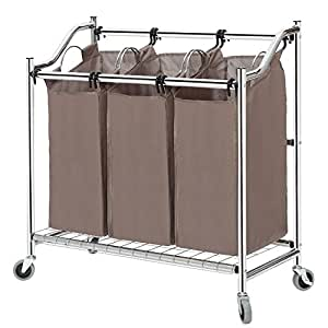 storagemaniac panier linge trieur robuste 3 sections en acier de qualit sup rieure chariot. Black Bedroom Furniture Sets. Home Design Ideas