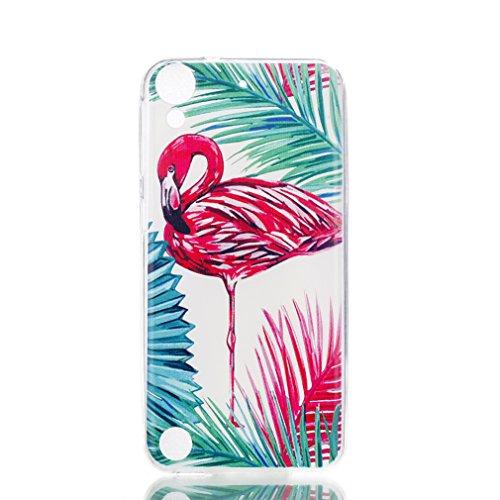 LMAZWUFULM Hülle für HTC Desire 650/626G/628 (5,0 Zoll) Weiche TPU Schutzhülle Silikon Handyhülle Roter Flamingo Muster Flexible Rückschale Cover für HTC Desire 650/626G/628