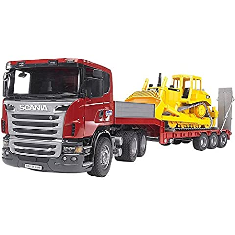 BRUDER - 03555 - Camion de transport SCANIA R-serie rouge avec Bulldozer CATERPILLAR Jaune