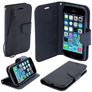 Moozy zweifarbige Fancy Tagebuch Buch Beutel Flip Handy Tasche mit Stand / Handschlaufe / Silikon Handyhalter für Apple iPhone 5 5S Schwarz