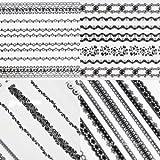 Beauties Factory 20pcs Self Adhesive Long Lace Nail Art Strip Stickers Nail Art DIY Decoration Color Black & White #166B