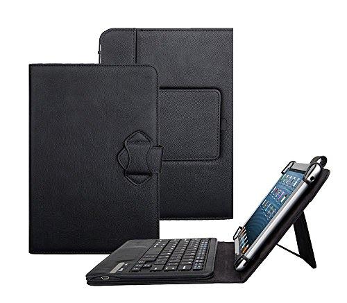 Tsmine Archos 80 Tablet Bluetooth Tastatur Tasche - Universal Premium 2-in-1 Abnehmbare Kabellose Tastatur [QWERTY] w / Folio Ledertasche Standabdeckung, Schwarz