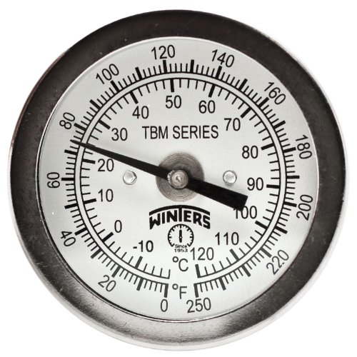 Winters TBM Series Stainless Steel 304 Dual Scale Bi-Metal Thermometer, 4 Stem, 1/4 NPT Fixed Center Back Mount Connection, 2 Dial, 0-250 F/C Range by Winters