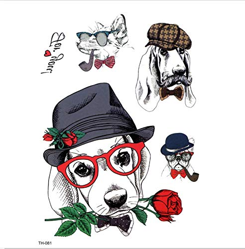 ruofengpuzi 4 Stücke Junge Hund Wasserdicht Temporäre Tätowierung Mann Tier Temporäre Weibliche Frau S Günstige Dinge 3D Aufkleber (Und Halloween-kostüme Hunde Günstige Einfache Für)